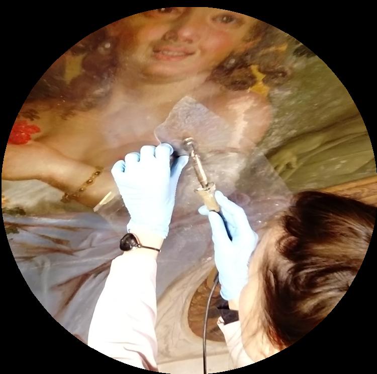 restauration du plafond de la Chambre des Muses