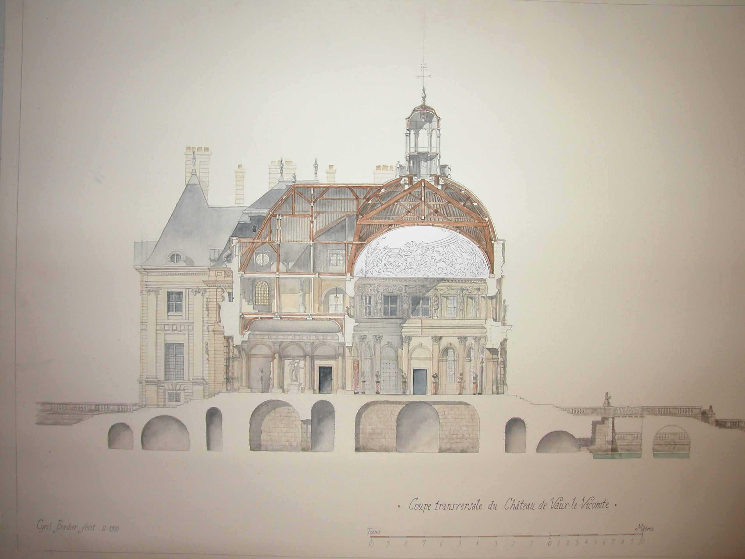 Dessin en coupe du Château de Vaux-le-Vicomte par Cyril Bordier